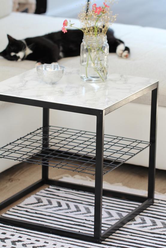 Ikea Ps Tisch diy beistelltisch mit marmorplatte ikea hack design dots