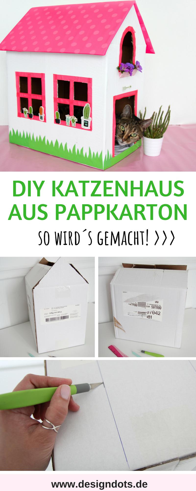 Katzenhaus Aus Einem Alten Karton Basteln Design Dots