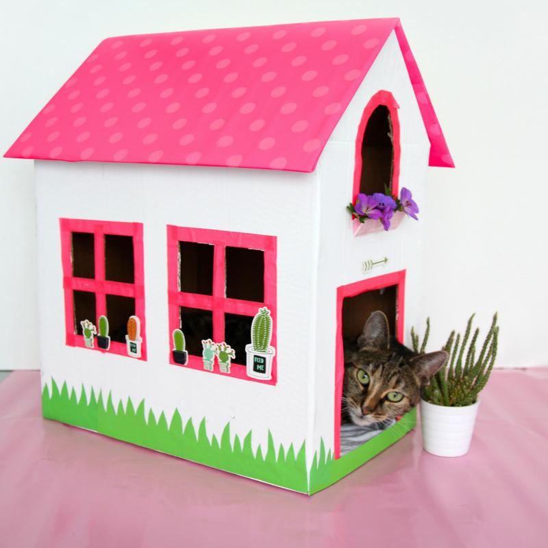 katzenhaus aus einem alten karton basteln design dots. Black Bedroom Furniture Sets. Home Design Ideas